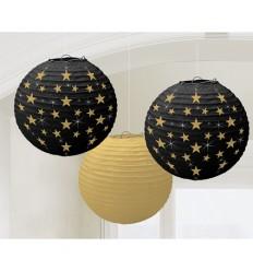 Lampionnen Hollywood goud, zwart met gouden sterren