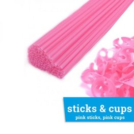 Ballonstaafje / Ballonstokje roze incl. roze cup, 38cm