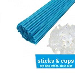 Ballonstaafje / Ballonstokje lichtblauw incl. transparante cup, 38cm