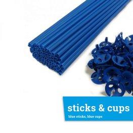 Ballonstaafje / Ballonstokje blauw incl. blauw cupje, 38cm