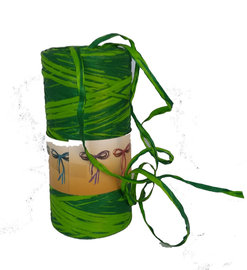 Groen Raffia lint,  5 mm, per 5 meter