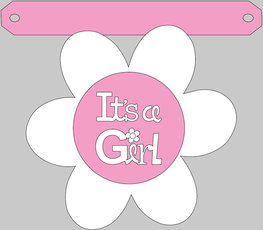 Bloem It's a girl tussenstukje