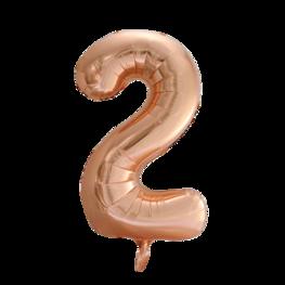 2 Folieballon cijfer, rosé goud