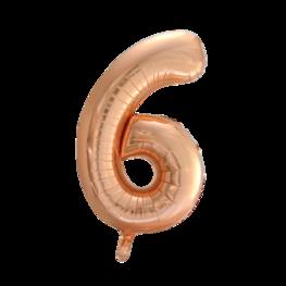 6 Folieballon cijfer, rosé goud