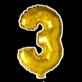 3 Folieballon cijfer, goud