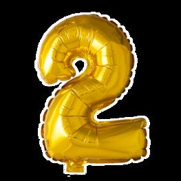 2 Folieballon cijfer goud