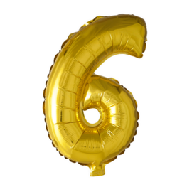 6 Folieballon cijfer, goud