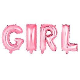 Folieballon letters GIRL, lichtroze