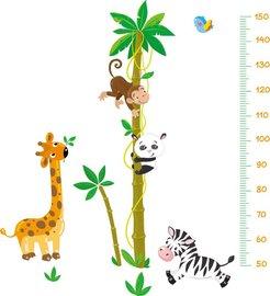 Groeimeter sticker Palmboom met giraffe, aap, panda en zebra