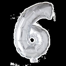 6 Folieballon zilver, zilver