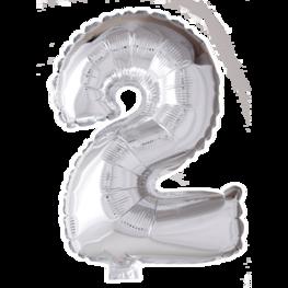 2 Folieballon cijfer, zilver