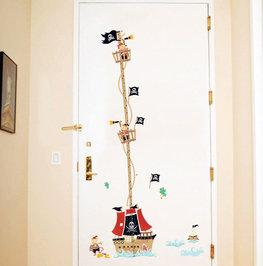 Groeimeter sticker Piratenschip