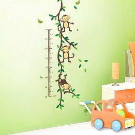 Groeimeter sticker aapjes aan liaan