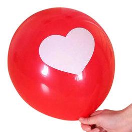 Rood met wit hartje ballonnen, 10 st.