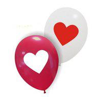 Rood-wit hart & wit-rood hart ballonnen, 10 st.