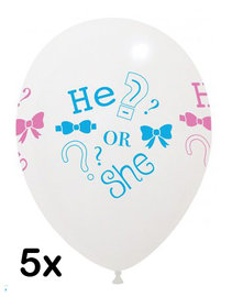 He or She, Gender reveal Ballonnen, 5 stuks