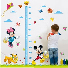 Groeimeter sticker Mickey, Minnie en Pluto