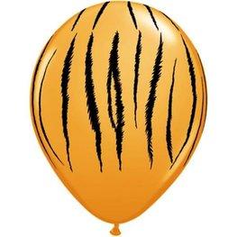Oranje met tijger print ballonnen, 10 st.