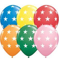 Assorti met witte sterren ballonnen, 10 st.