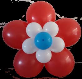 Ballonnenbloem DIY, rood/wit/blauw