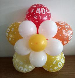 Ballonnenbloem DIY, 40 jaar rood/oranje