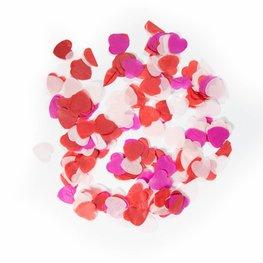 Rood gemixt hartjes confetti XL, 14 gram