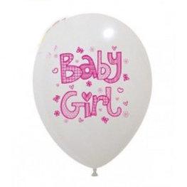 Baby Girl Ballonnen wit met roze, 10 stuks
