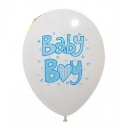Baby Boy Ballonnen wit met blauw, 10 stuks