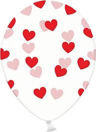 Transparant met rode hartjes Ballonnen, 6 stuks