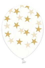 Transparant met gouden sterren Ballonnen, 6 stuks