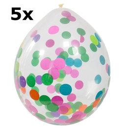 Confetti multicolor Ballonnen, 5 stuks, 35cm
