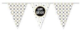 Happy Birthday vlaggenlijn goud/zwart, 10 meter