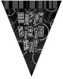Happy Birthday vlaggetjes banner zwart/zilver, 2,7 meter