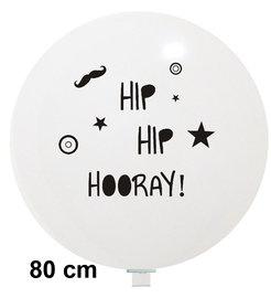 Hip Hip Hooray XL ballon, wit met zwarte opdruk