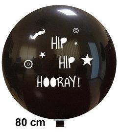 Hip Hip Hooray XL ballon, zwart met witte opdruk