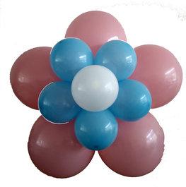 Ballonnenbloem DIY, babyroze en blauw