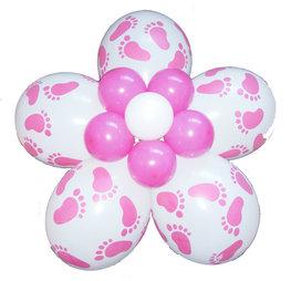 Ballonnenbloem DIY, babyvoetjes roze