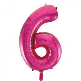 6 Folieballon cijfer, pink