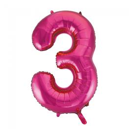 3 Folieballon cijfer, pink