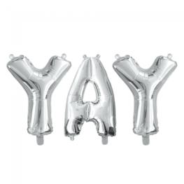 Folieballon letters YAY, zilver