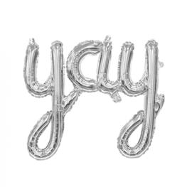 Folieballon 'yay', zilver, 78 cm