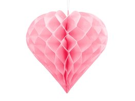 Roze Honeycomb hart, 30cm