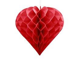 Rood Honeycomb hart, 30cm
