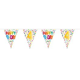 4 jaar, Vlaggenlijn Stippen Happy Bday, 10 meter