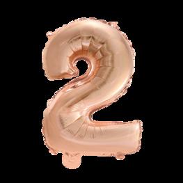 2 Folieballon cijfer, rosé goud, 41 cm