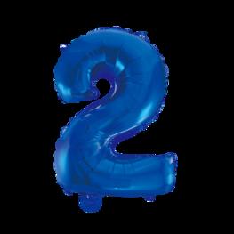 2 Folieballon cijfer, blauw, 41 cm