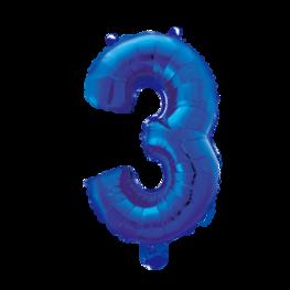 3 Folieballon cijfer, blauw, 41 cm