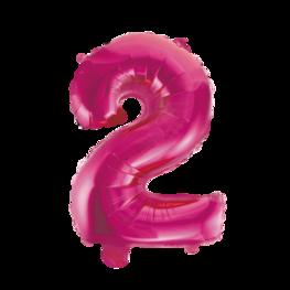 2 Folieballon cijfer, pink, 41 cm