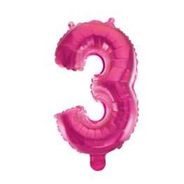 3 Folieballon cijfer, pink, 41 cm