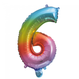 6 Folieballon cijfer, regenboog, 41 cm